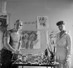 """■ Elaine and Willem de Kooning """"Elaine and Willem de Kooning were Abstract Expressionist artists who met in New York in Willem de Kooning was a Dutch artist who had arrived in New York in 1926 as a stowaway on a ship. They were introduced by a friend,…. Willem De Kooning, Dutch Artists, Famous Artists, Great Artists, West Village, Artist Art, Artist At Work, De Kooning Paintings, Oil Paintings"""