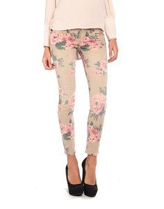 pale floral print, skinny jeans