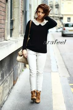 Peter Pan Collar Dot Sweater Cream Knit Contrast Top