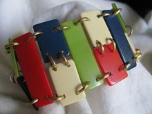 Vintage Art Deco Multicolored Galalith Bracelet - possible Jakob Bengel /Galalith is one of the rarest of the early plastics. This one has the telltale sour milk smell /199