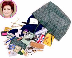 "Sharon Osbourne The Bag: Goyard tote The Essentials: Magnifying mirror, Boots cleansing wipes, cinnamon-flavored toothpicks and mints from the Beverly Hills Hotel and of course, photos of her granddaughter, Pearl. ""My iPhone has a fabulous Union Jack cover that says MRS. O. It was a gift, and I absolutely adore it!""."