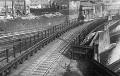 View of the skew bridge carrying the railway over the Birmingham Navigation Canal seen on 12th April 1940