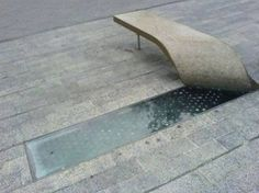 peeled concrete bench as reveal for pavement glazing/ light well// such a modern idea//so creative! Architecture Details, Landscape Architecture, Interior Architecture, Landscape Design, Organic Architecture, Urban Furniture, Street Furniture, Furniture Design, Industrial Furniture