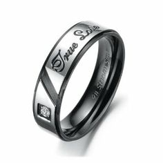 """316l Stainless Steel Black & Gold Plated """"True Love"""" Engraved Cz GEM Mens Ladies Ring for Wedding/engagement/promise/eternity Jewelrywe. $9.99. Black Plated Ring Width: 6mm or Gold Plated Ring Width: 4mm. List price is for one ring only. Purchase two rings for a matching set.. Stainless steel rings for couples/lovers. """"True Love"""" Engraved"""