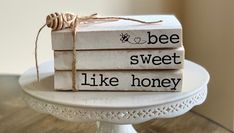 Bee decor/ Bee bundle/stamped books and wooden bead Wooden Books, Painted Books, Farmhouse Books, Farmhouse Decor, Farmhouse Style, Farmhouse Ideas, Country Decor, Country Living, Bee Crafts