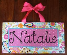 custom painted whole name canvas painted to match Petite Paisley Pop
