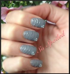 Bio Sculpture Gel Nails - grey matte nail with glossy French and stripe design, pearl bead accent. Matte Gel Nails, Bio Sculpture Gel Nails, Gel Nail Art Designs, Stripes Design, Pearl Beads, Gel Polish, Art Ideas, Spring Summer, French