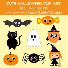 A set of 8 cute Halloween clip arts featuring a bat, a candy, a cat, a ghost… Halloween Office, Halloween Rocks, Cute Halloween, Halloween Crafts, Halloween Stuff, Five Little Pumpkins, Halloween Clipart, Comic Pictures, Art Projects