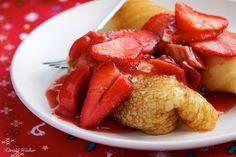 Strawberry and Rhubarb Blini   #vegan recipe   via Vegalicious
