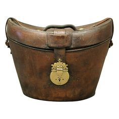 Late 1800's English Leather Hat Box