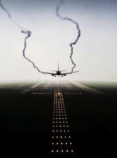 A plane landing...