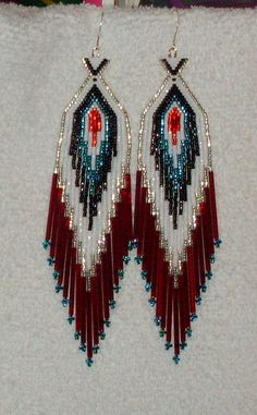 Beaded Shoulder Duster Earrings by TheCraftyCuban on Etsy