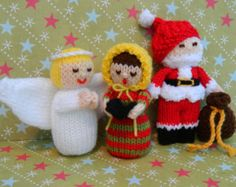 Christmas Angel, Father Christmas & Carol Singer - Christmas Toy Knitting Pattern - pdf Format - Instant Download