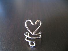 Heart Ear Cuff, Sterling silver Ear Cuff, Mini Heart Ear Cuff, No Piercing, Gifts under 15. $12.00, via Etsy.
