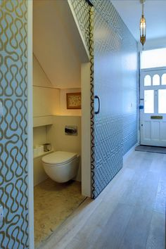 Toilet Under Stairs Design Ideas, Pictures, Remodel and Decor Tiny Bathrooms, Small Bathroom, Understairs Toilet, Bathroom Under Stairs, Toilet Under Stairs, Basement Bathroom, Washroom, Sliding Door Design, Sliding Doors