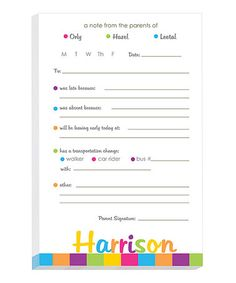 Look what I found on #zulily! Bright Border Personalized Excuse Pad #zulilyfinds