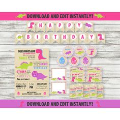 Editable Girl Dinosuar Party Pack - Dinosaur Invitation - Printable - Personalized Invitation - Download and Edit with Acrobat Reader! by PicklesAndPosies on Etsy