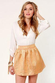 Pretty Gold Skirt - Brocade Skirt - Skater Skirt - $33.00