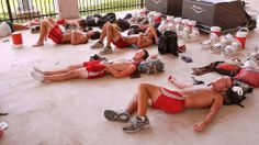 Drum corps gives you the ability to sleep anywhere. 2011 #MadisonScouts #mellophones