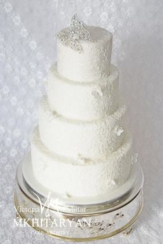 White lace wedding cake by V&M Mkhitaryan Cake Artistry