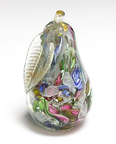 Italian Murano ART Glass Paperweight Pear Form Multicolored Glass AND Gold | eBay