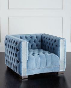 Manhattan Mirrored-Trim Chair, Blue - Haute House