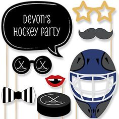 Shoots & Scores! - Hockey - 20 Piece Photo Booth Props Kit | BigDotOfHappiness.com