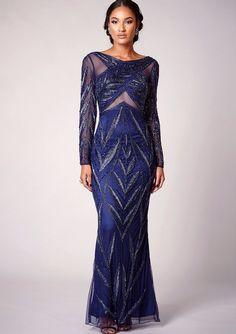c16ff94ea2f Virgos Lounge Navy Fishtail Maxi Dress 14 42 Sleeved Royalty Wedding Party   VirgosLounge  MaxiDress