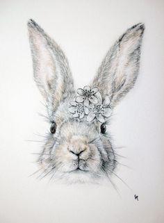 A3 Print | Bunny with Floral Crown by Carmen Hui. www.drawnbycarmen.etsy.com