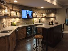 34 Awesome Basement Bar Designs Ideas That You Definitely Like - Planning is everything when building a basement and the first step in the planning process is choosing the right basement bar design. Narrow Basement Ideas, Open Basement, Basement Bar Designs, Home Bar Designs, Basement House, Basement Kitchen, Finished Basement Bars, Rustic Basement Bar, Small Basement Bars