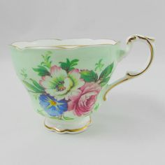 Paragon Orphan Tea Cup, Green with Flowers, Replacement Tea Cup, Teacup ONLY, No Saucer