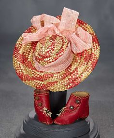 """""""What Finespun Threads"""" - Antique Doll Costumes, 1840-1925 - March 12, 2017: 274 Bi-Color Woven Bonnet and Red Kidskin Ankle Boots"""