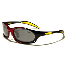 Pablo Z Mens Sports Sunglasses Black-Red-Yellow with Gray Lenses Red Sunglasses, Sports Sunglasses, Yellow, Blue, Lenses, Gray, Kids, Women, Fashion