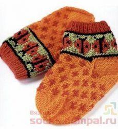 Вязаные детские носочки с божьими коровками | ВЯЗАНЫЕ НОСКИ