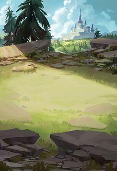 ArtStation - work, nancy Chen Fantasy Art Landscapes, Landscape Drawings, Fantasy Landscape, Landscape Art, Landscape Paintings, Landscape Concept, Green Landscape, Landscape Background, Art Background