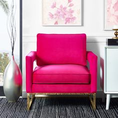 Avery Pink Velvet Chair By Our Love For Luxe, Modern Design The Avery Chair Radiates Sophistication And Grandeur. With A Glossy Gold Finish And Gorgeous Curves, This Chair Is Available In Several Sumptuous Upholstery Options. Cafe Interior, Home Interior Design, Modern Chairs, Modern Furniture, Hot Pink Furniture, Modern Armchair, Pink Velvet Chair, Velvet Chairs, Pink Chairs