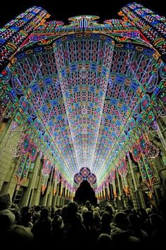 A cathedral made from 55,000 LED lights, at the 2012 Light Festival in Ghent, Belgium.