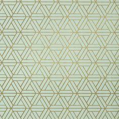 Papier peint Medina, Thibaut, coloris vert et or.