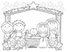 Recursos educativos - Dibujos para colorear Navidad - Pesebres, Belenes, Nacimientos Lámina dedibujo para colorear Pesebre con pastores y ovejas