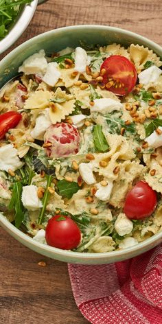 """Nudelsalat """"Rucola""""Our Pasta Salad """"Rucola"""" is your perfect companion to the next barbecue party and any other event. You will hardly be able to save yourself from compliments, it is so delicious! Tomatoes, mozzarella and basil pesto ensure the perf Easy Healthy Recipes, Healthy Snacks, Vegetarian Recipes, Easy Meals, Snacks Recipes, Grill Party, Pasta Salad Recipes, Food Inspiration, Barbecue"""