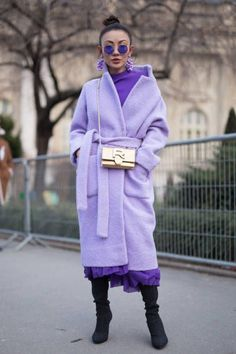 LA LA LAVENDER/Street Style : Paris Fashion Week Womenswear Fall/Winter 2018/2019 : Day Three PARIS, FRANCE - FEBRUARY 28 (Photo by Matthew Sperzel/Getty Images)