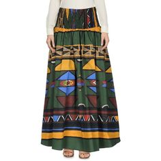 Stella Jean Long Skirt (€310) ❤ liked on Polyvore featuring skirts, green, elastic waistband skirt, green skirt, pocket skirt, ankle length skirts and cotton maxi skirt