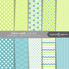 Digital Papers Limelight with Lime Green & Aqua
