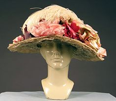 1910 large Brim White Lace hat..