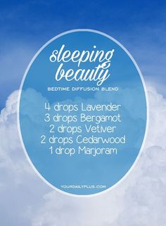 Having trouble sleeping? Try these essential oils for deep sleep that promote relaxation and a restful sleeping environment. Sleeping Beauty diffusion blend with Lavender, Bergamot, Vetiver, Cedarwood and Marjoram. #aromatherapysleepblends