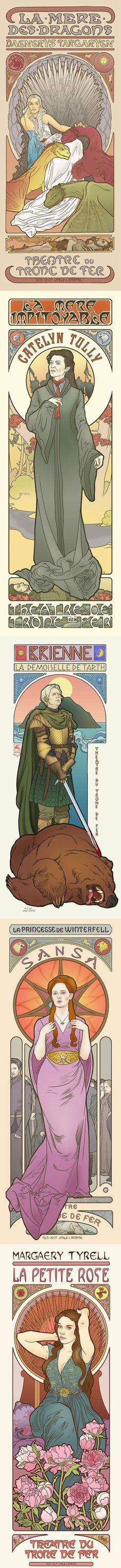 Les femmes de Game of Thrones en Art Nouveau