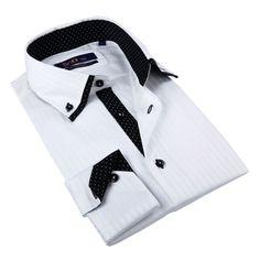 Brio Milano Men's White Tone-on-tone Button-down Shirt