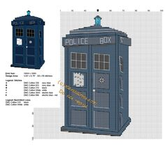 Doctor Who TARDIS space ship free cross stitch pattern