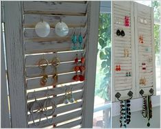 If your jewelry collection contains earrings mostly then it must be difficult every time you have to find a pair from the stash to compliment your Diy Earring Holder, Diy Earrings, Wine Rack, Ladder Decor, Jewelry Collection, Fun Stuff, Storage, Furniture, Home Decor