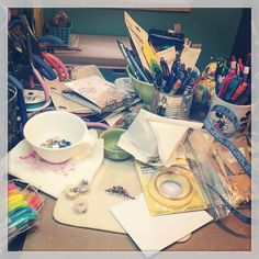 Oh yeah...I think I'm gonna have to tackle this mess today. How's your Friday looking? #craftroom #craftdesk #studio #art #messy #creativemess #creativityismessy #distresscrayons #wire #beads #pens